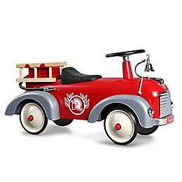 Baghera Vintage Metal Ride-On Speedster Fireman Car in Red