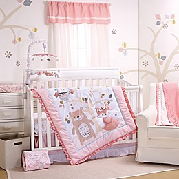 Little Haven Woodland Friends 3-Piece Crib Bedding Set in Dusty Rose