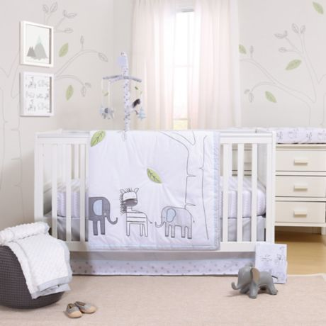 Little Haven Elephant Park 3 Piece Crib Bedding Set In