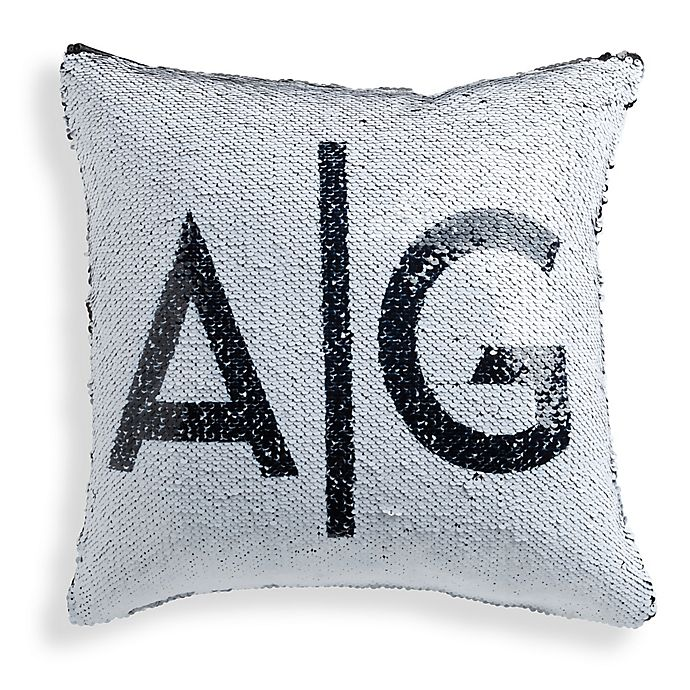 Sequined Initials Throw Pillow In Black