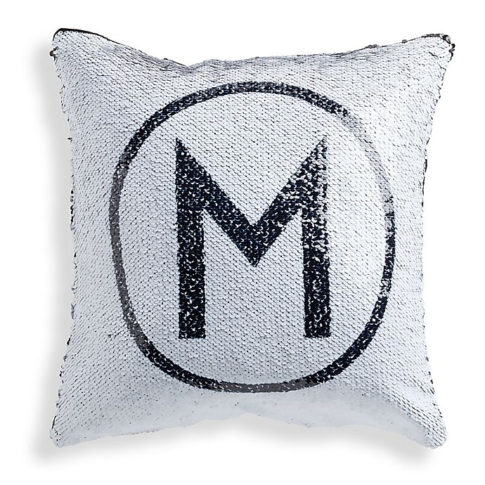 Sequined Circle Initial Throw Pillow In