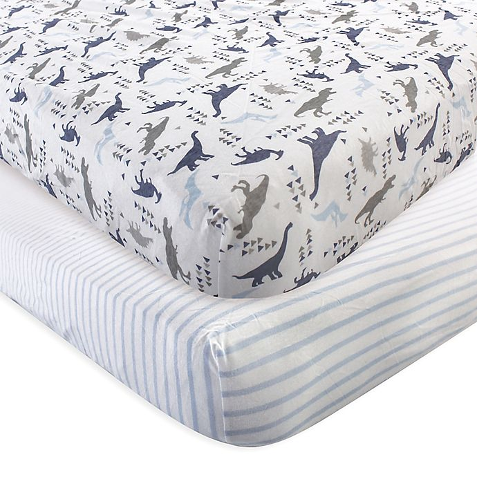 Alternate image 1 for Touched by Nature 2-Pack Dino Organic Cotton Fitted Crib Sheets