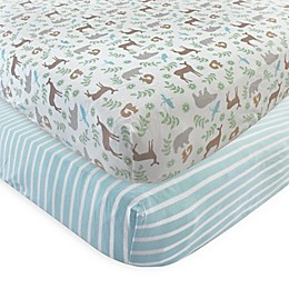 Touched by Nature Forest Organic Cotton Fitted Crib Sheet in Green (Set of 2)