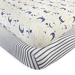 Touched by Nature Moon Organic Cotton Fitted Crib Sheet in Blue (Set of 2)