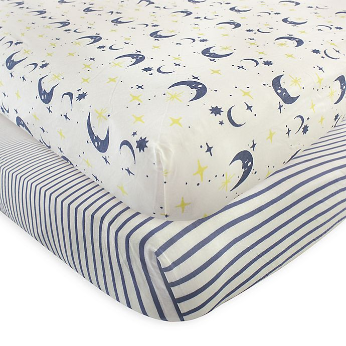 Alternate image 1 for Touched by Nature Moon Organic Cotton Fitted Crib Sheet in Blue (Set of 2)