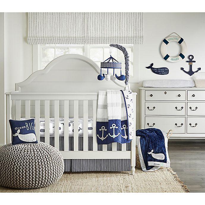 Landon 4 Piece Crib Bedding Set In Navy, White And Navy Cot Bedding