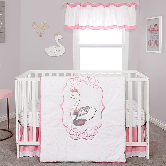 Alternate image 1 for Trend Lab® Swans 3-Piece Crib Bedding Set in Grey/Pink/White