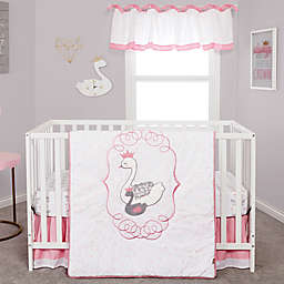 Trend Lab® Swans 3-Piece Crib Bedding Set in Grey/Pink/White