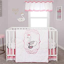 Trend Lab® Swans 3-Piece Crib Bedding Set in Grey/Pink/White