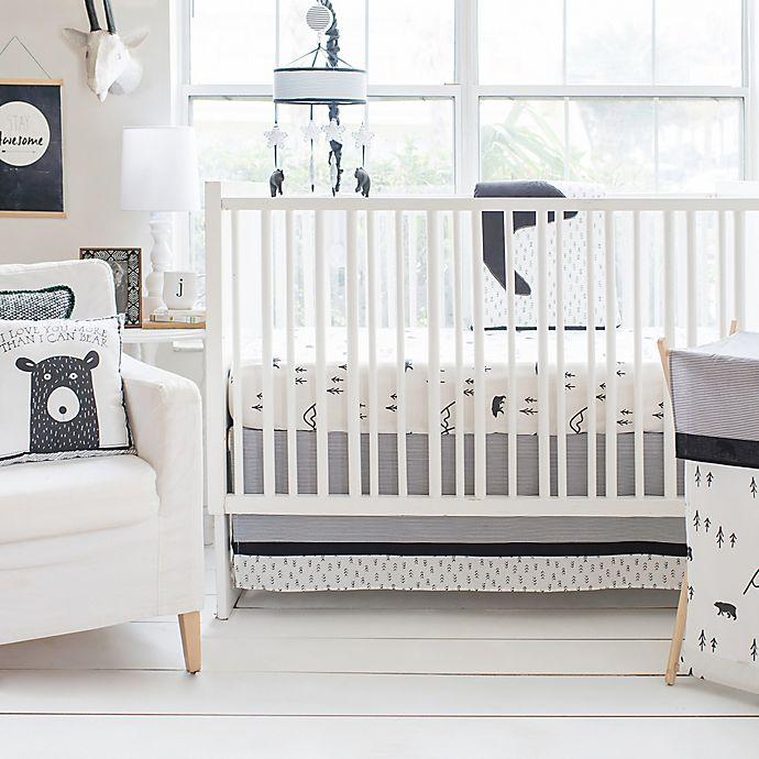 Alternate image 1 for My Baby Sam Little Black Bear 3-Piece Crib Bedding Set in Black