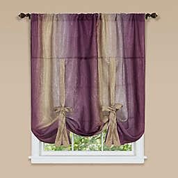 Ombre Rod Pocket Tie-Up Window Shade in Aubergine
