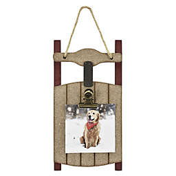 Holiday Sled Photo Clip Ornament in Brown
