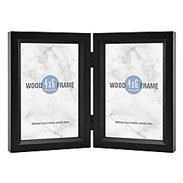 Gallery 2-Photo 4-Inch x 6-Inch Hinged Wood Frame in Black
