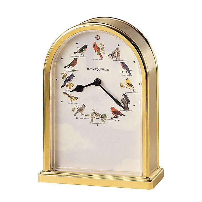 Alternate image 1 for Howard Miller® Songbirds III Tabletop Clock in Polished Brass