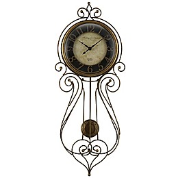 Sterling & Noble® Wrought Iron Regulator Wall Clock in Black