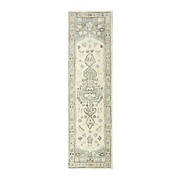 Sienna Hand-Tufted 2' x 7' Runner in Ivory/Green