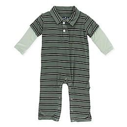 KicKee Pants® Stripe Polo Romper in Green