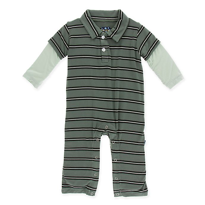 42cb8d3218e2 KicKee Pants® Size 3-6M Stripe Polo Romper in Green