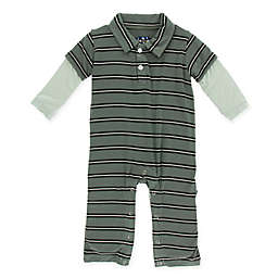 KicKee Pants® Newborn Stripe Polo Romper in Green