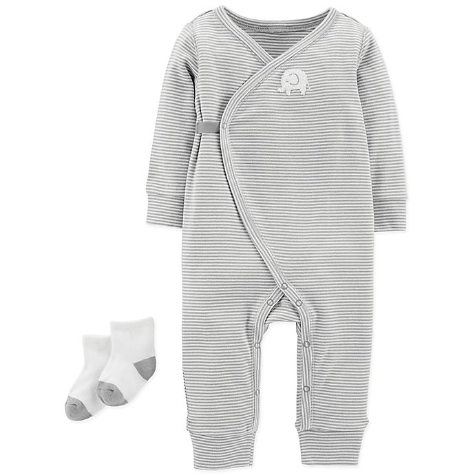 Alternate image 1 for carter's® Preemie 2-Piece Coverall Set in Grey