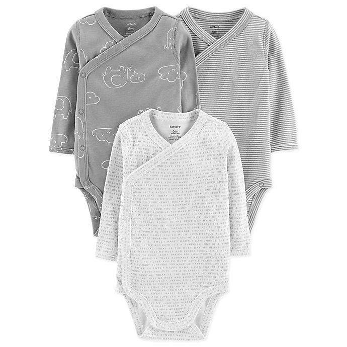 Alternate image 1 for carter's® Kimono Preemie 3-Pack Long Sleeve Bodysuits in Grey