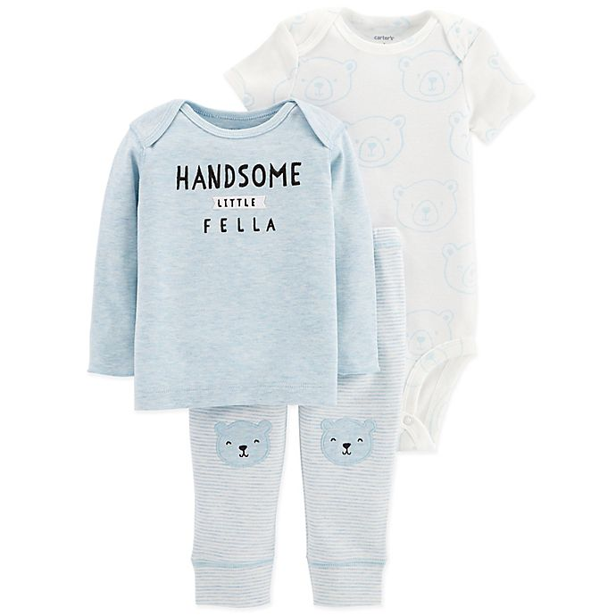 Alternate image 1 for carter's® Preemie 3-Piece Bear Shirt, Bodysuit and Pant Set in Blue