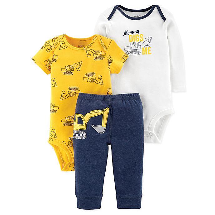 Alternate image 1 for carter's® Preemie 3-Piece Construction Bodysuit and Pant Set