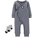 carter's® Preemie 2-Piece Striped Lion Kimono Coverall and Sock Set