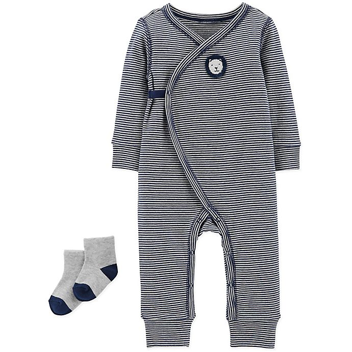 22a6abc61 carter s® 2-Piece Striped Lion Kimono Coverall and Sock Set
