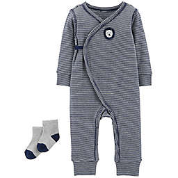 carter's® 2-Piece Striped Lion Kimono Coverall and Sock Set