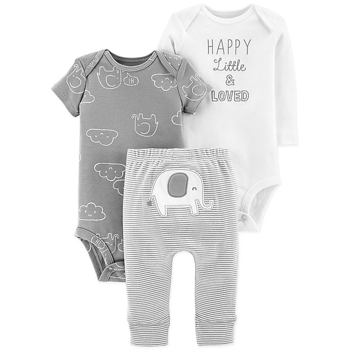 Alternate image 1 for carter's® Preemie 3-Piece Elephant Pant Set in Grey