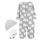 carter's® Preemie 3-Piece Elephant Converter Gown Set in Grey