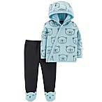 carter's® Preemie 2-Piece Bear Side Snap Hoodie and Footed Pant Set in Blue