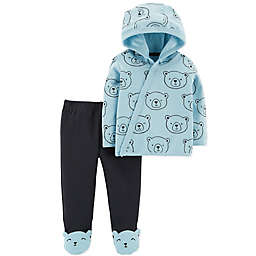 carter's® 2-Piece Bear Side Snap Hoodie and Footed Pant Set in Blue