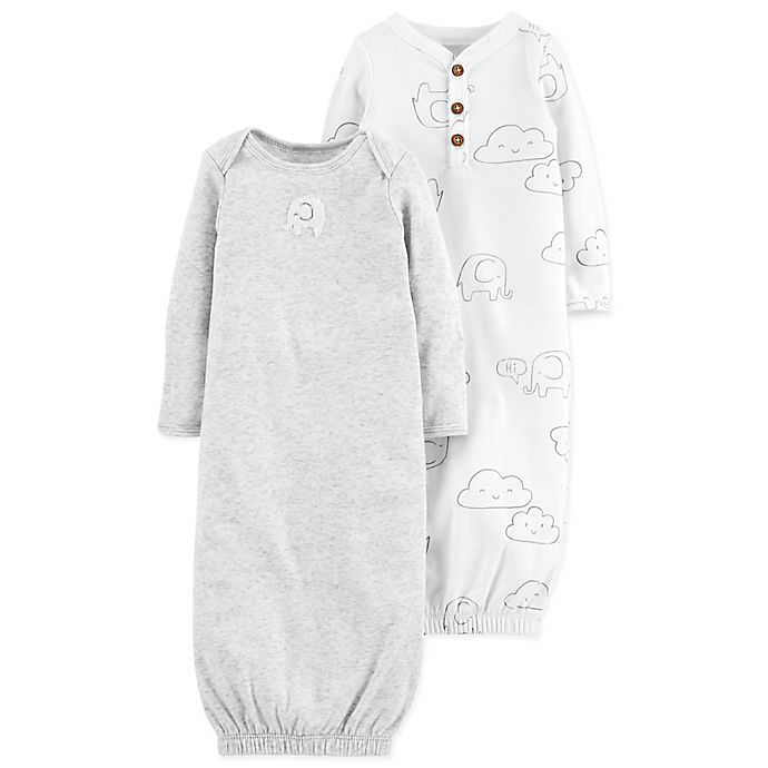 Alternate image 1 for carter's® 2-Pack Clouds Gowns in Grey