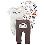 carter's® Size 3M 3-Piece Dog Little Character Bodysuit and Pant Set in Brown