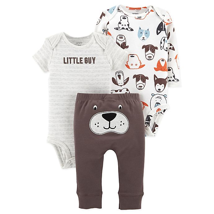 Alternate image 1 for carter's® Newborn 3-Piece Dog Little Character Bodysuit and Pant Set in Brown