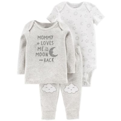 b449d939b411f carter's® 3-Piece Mommy Loves Me Shirt, Bodysuit, and Pant Set in Grey Is  Not Available For Sale Online.