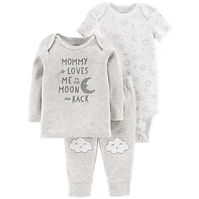 carter's® 3-Piece Mommy Loves Me Shirt, Bodysuit, and Pant Set in Grey