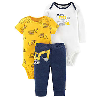 carter's® 3-Piece Mommy Digs Me Shirt, Bodysuit, and Pant Set in Yellow