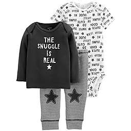 carter's® 3-Piece Snuggle Shirt, Bodysuit, and Pant Set in Black/White