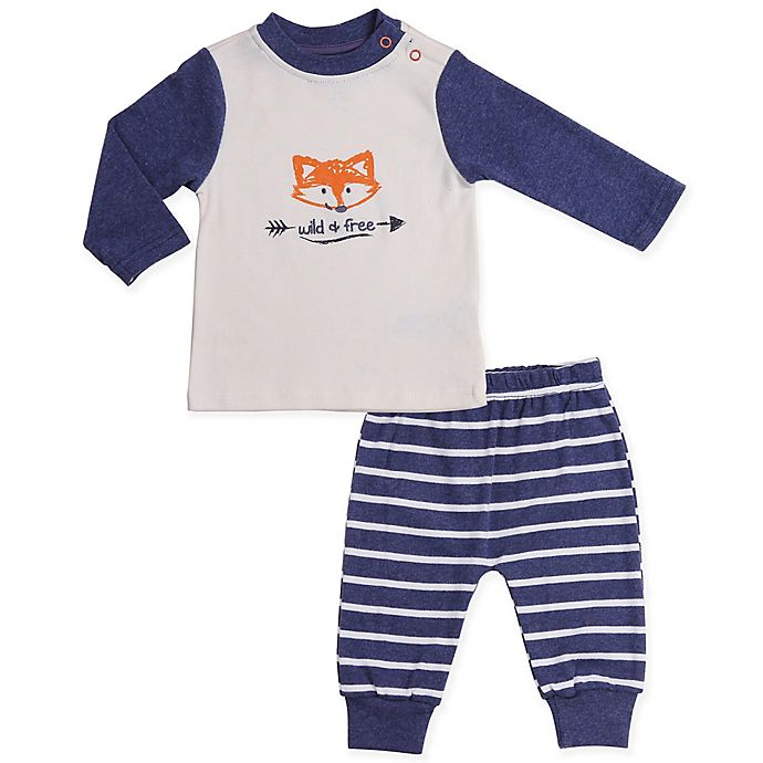 Alternate image 1 for asher and olivia® 2-Piece Woodland Fox Shirt and Pant Set in Blue