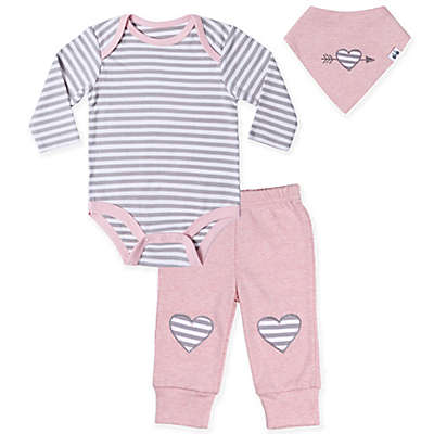 asher and olivia® 3-Piece Long Sleeve Bodysuit, Pant and Bib Set in Pink