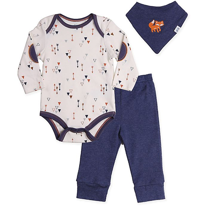Alternate image 1 for asher and olivia® 3-Piece Woodland Fox Bodysuit, Pant, and Bandana Bib Set in Blue