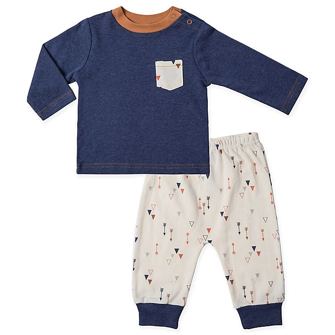 Alternate image 1 for asher and olivia® 2-Piece Arrow Shirt and Pant Set in Blue