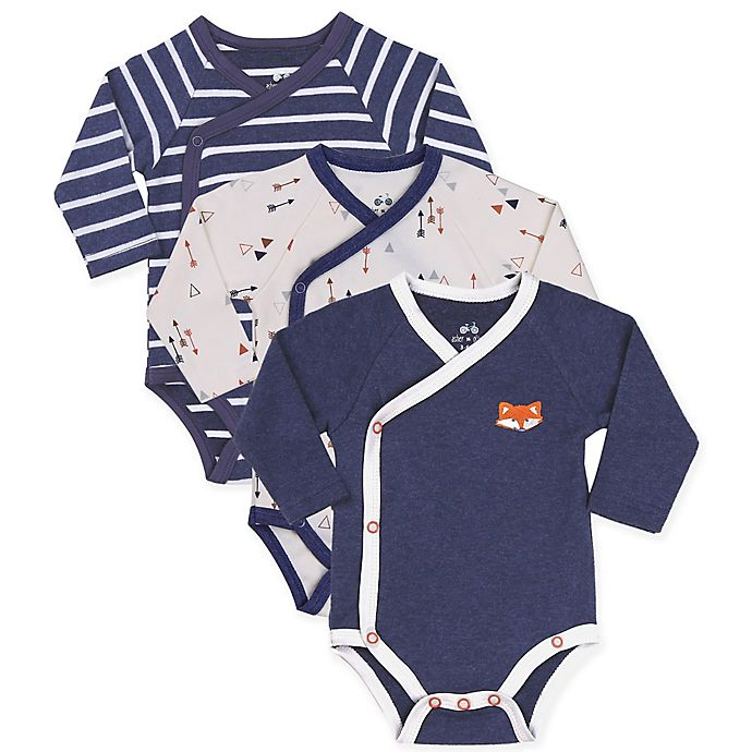 Alternate image 1 for asher and olivia® 3-Pack Kimono Bodysuits in Blue
