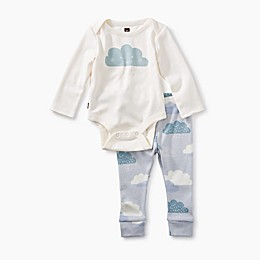Tea Collection 2-Piece Clouds Pajama Set in White/Light Blue