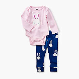Tea Collection 2-Piece Bunnies Pajama Set in Pink/Blue
