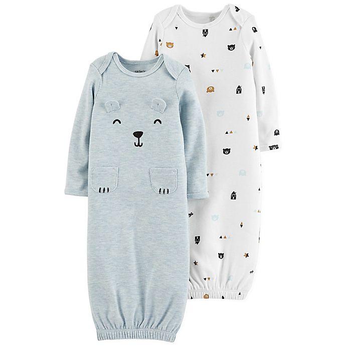 Alternate image 1 for carter's® Newborn 2-Pack Bear Gowns