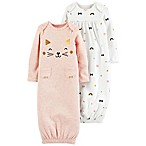 carter's® Newborn 2-Pack Babysoft Sleeper Gowns in White/Pink